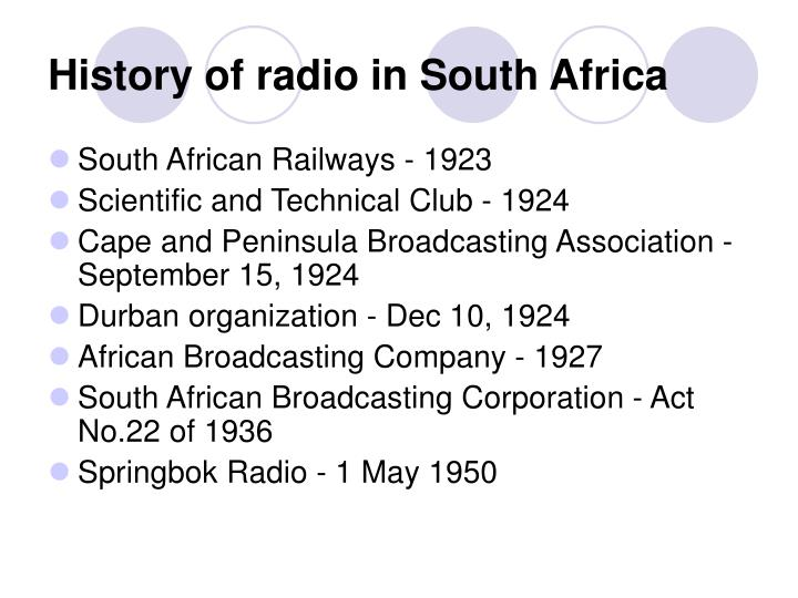 History of radio in South Africa