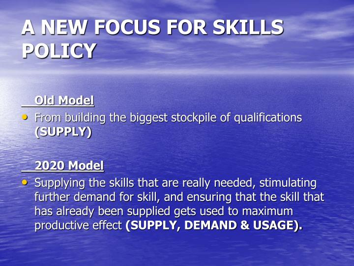 A NEW FOCUS FOR SKILLS POLICY