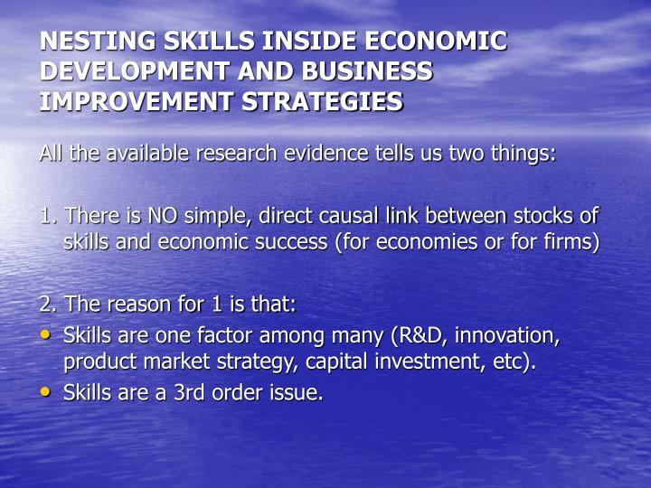 NESTING SKILLS INSIDE ECONOMIC DEVELOPMENT AND BUSINESS IMPROVEMENT STRATEGIES