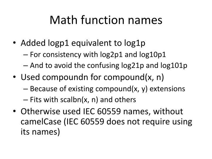 Math function names