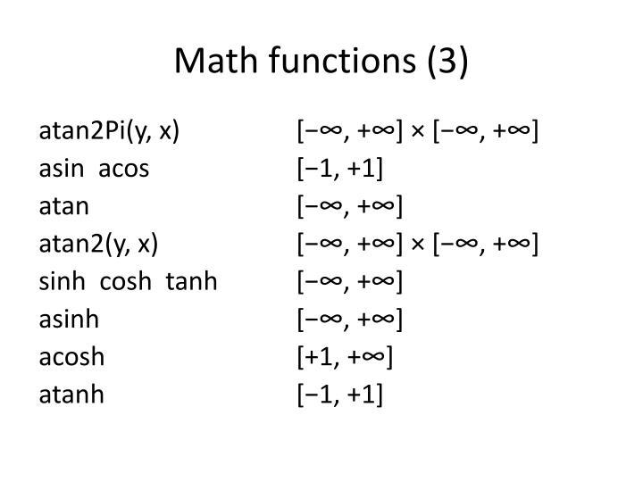 Math functions (3)