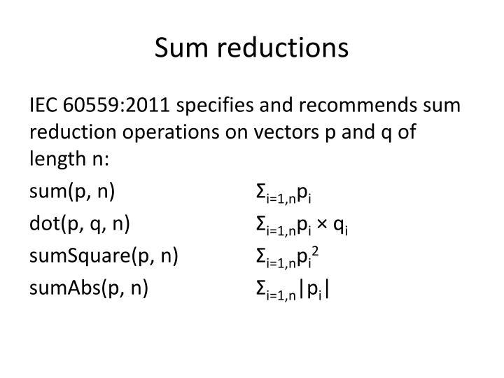 Sum reductions