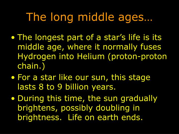 The long middle ages…
