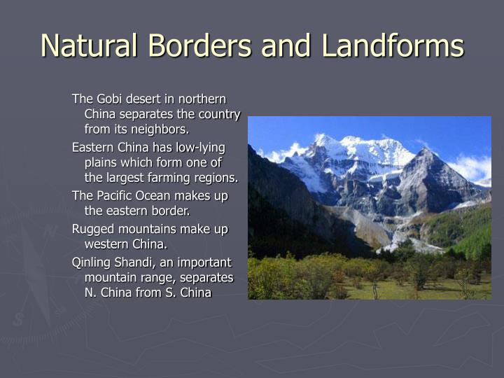 Natural borders and landforms