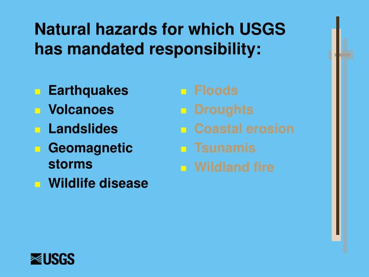 Natural hazards for which usgs has mandated responsibility