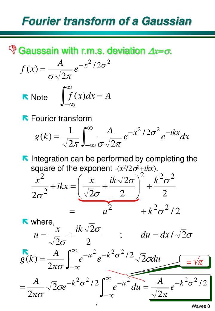 Fourier transform of a Gaussian