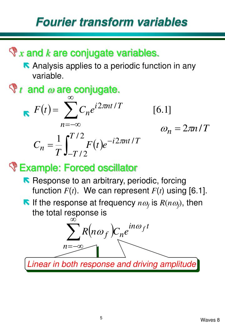 Fourier transform variables