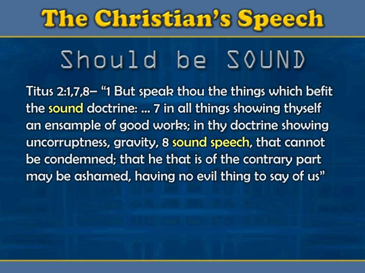 The Christian's Speech
