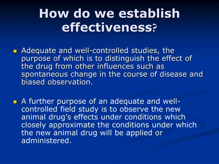 How do we establish effectiveness