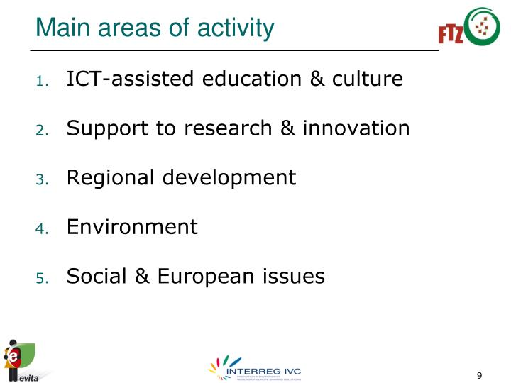 Main areas of activity