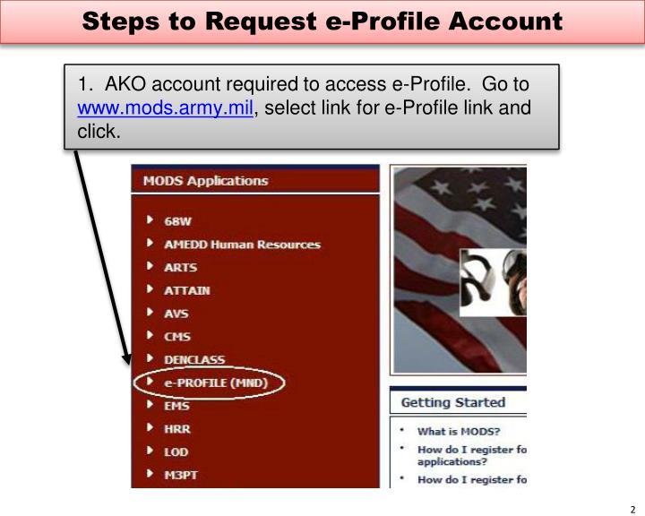 Steps to Request e-Profile Account