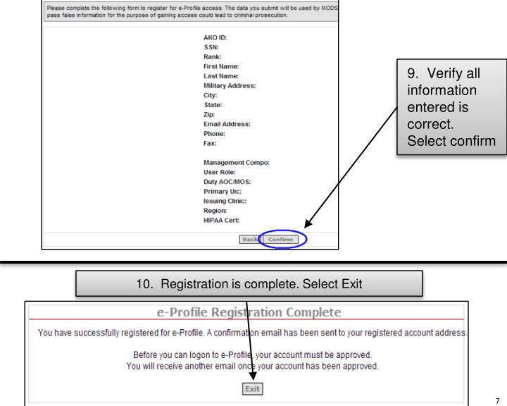 9.  Verify all information entered is correct.  Select confirm