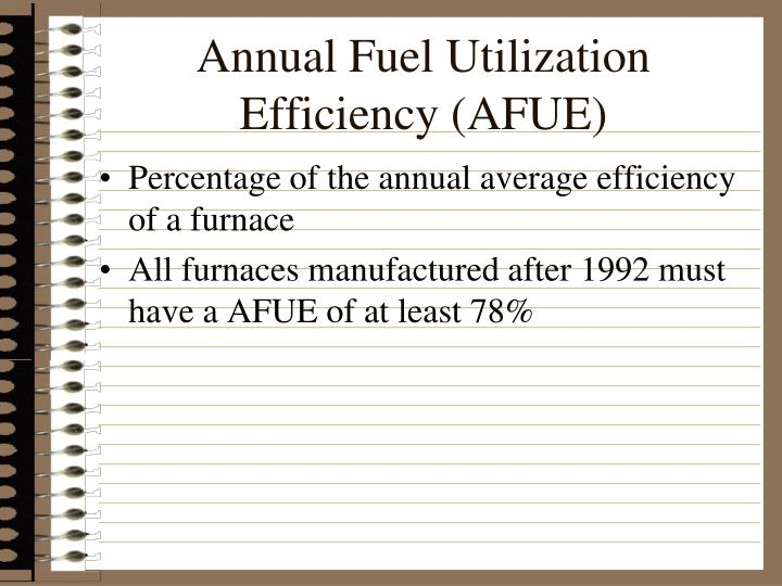 Annual Fuel Utilization Efficiency (AFUE)