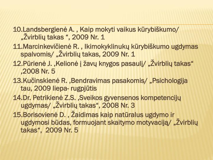 """10.Landsbergienė A. , Kaip mokyti vaikus kūrybiškumo/ """"Žvirblių takas """", 2009 Nr. 1"""