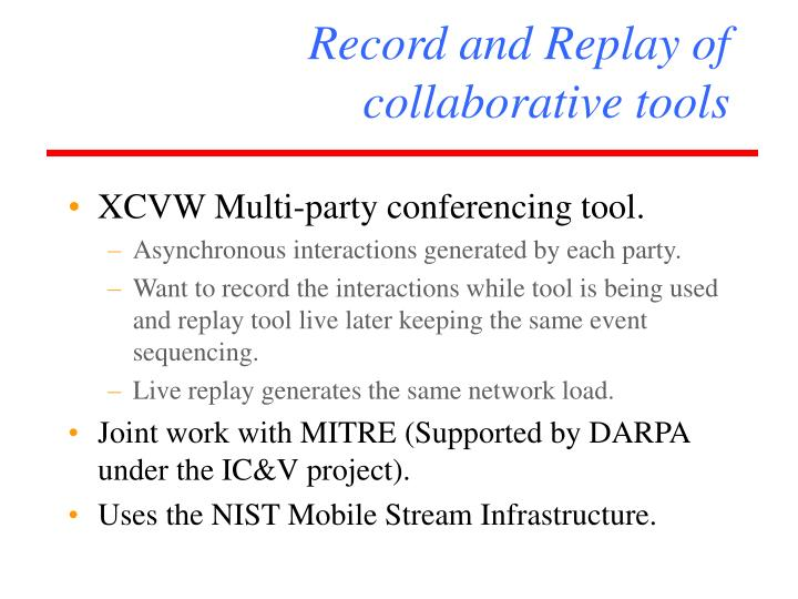 Record and Replay of  collaborative tools