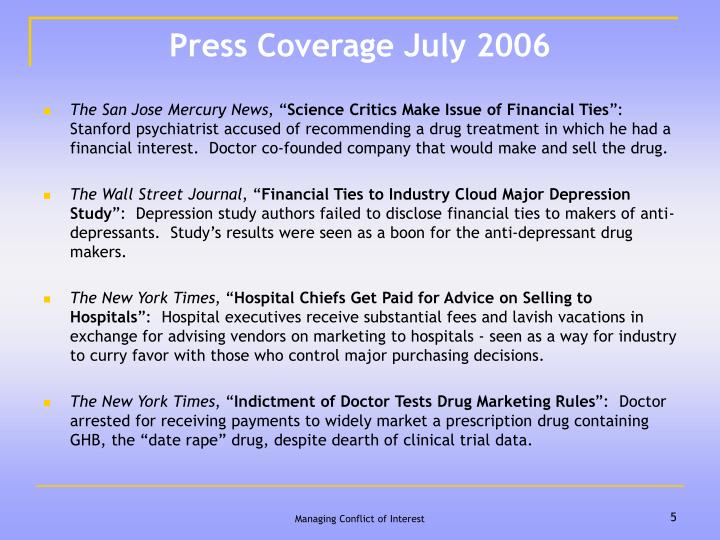 Press Coverage July 2006