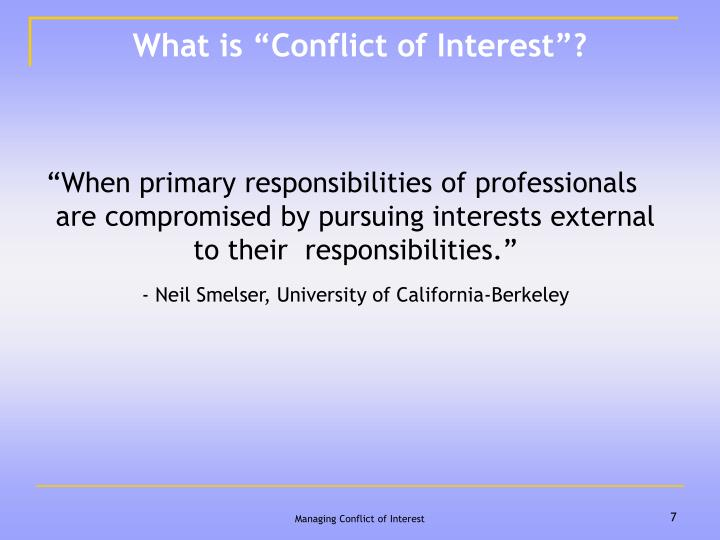 "What is ""Conflict of Interest""?"