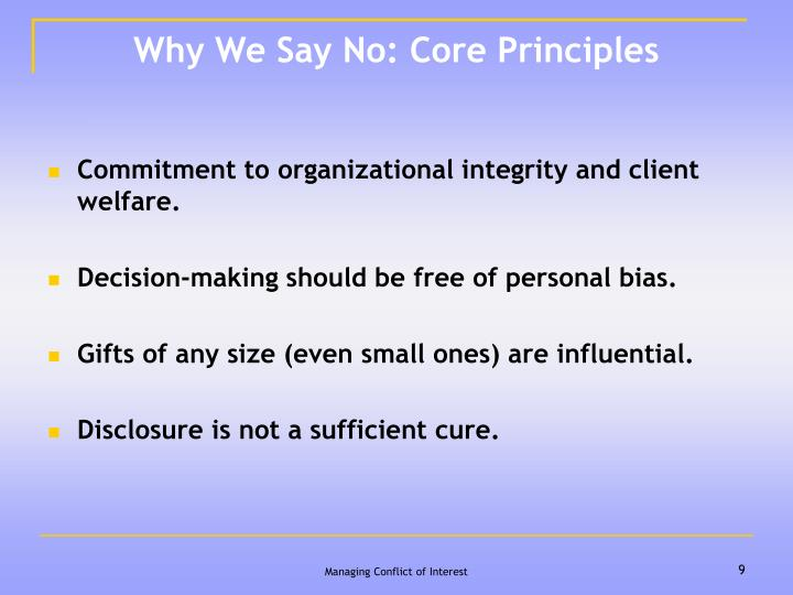 Why We Say No: Core Principles