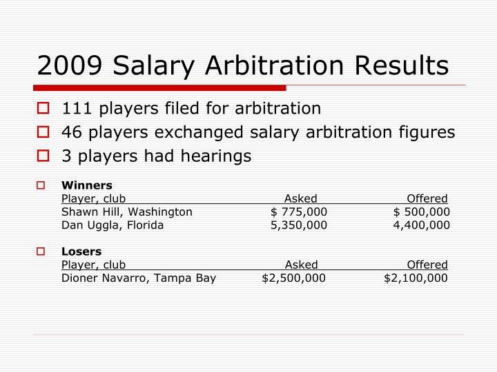 2009 Salary Arbitration Results