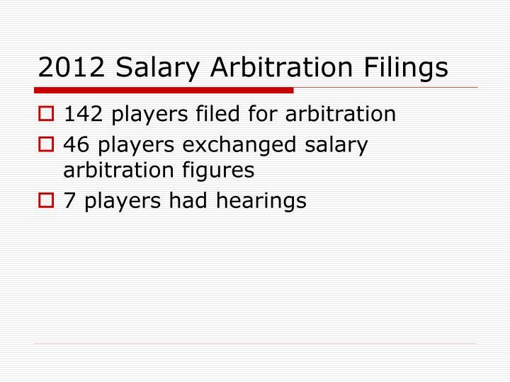 2012 Salary Arbitration Filings
