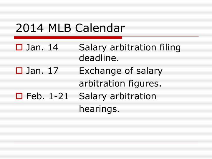 2014 MLB Calendar