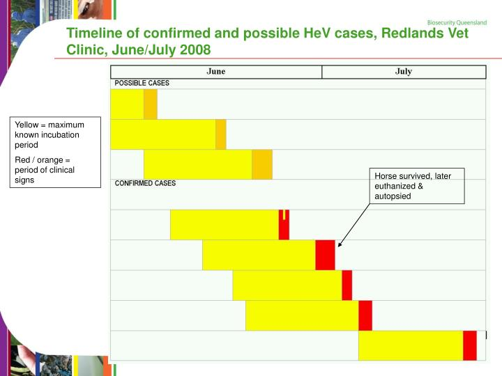 Timeline of confirmed and possible HeV cases, Redlands Vet Clinic, June/July 2008