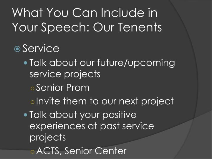 What You Can Include in Your Speech: Our