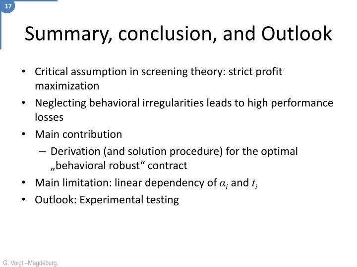 Critical assumption in screening theory: strict profit maximization