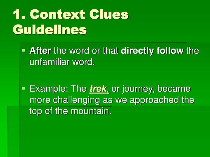1. Context Clues Guidelines