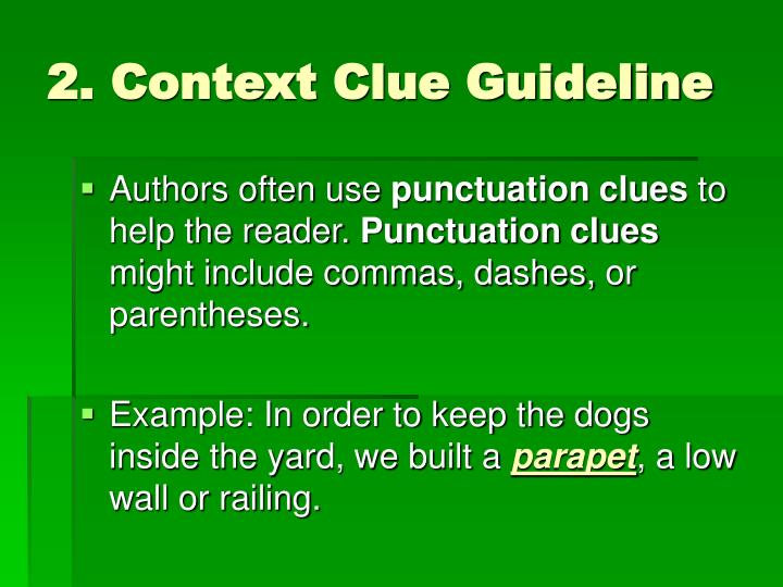 2. Context Clue Guideline