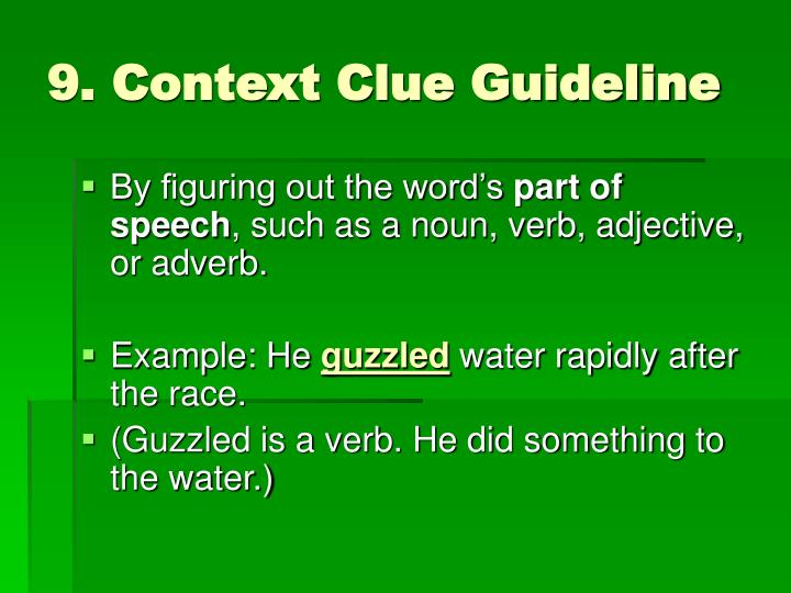 9. Context Clue Guideline