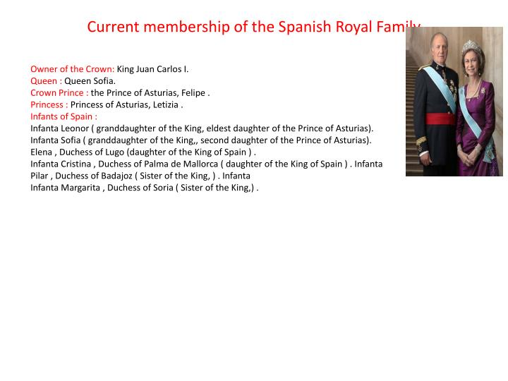 Current membership of the Spanish Royal Family