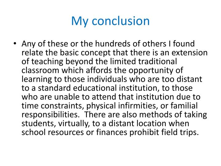 My conclusion