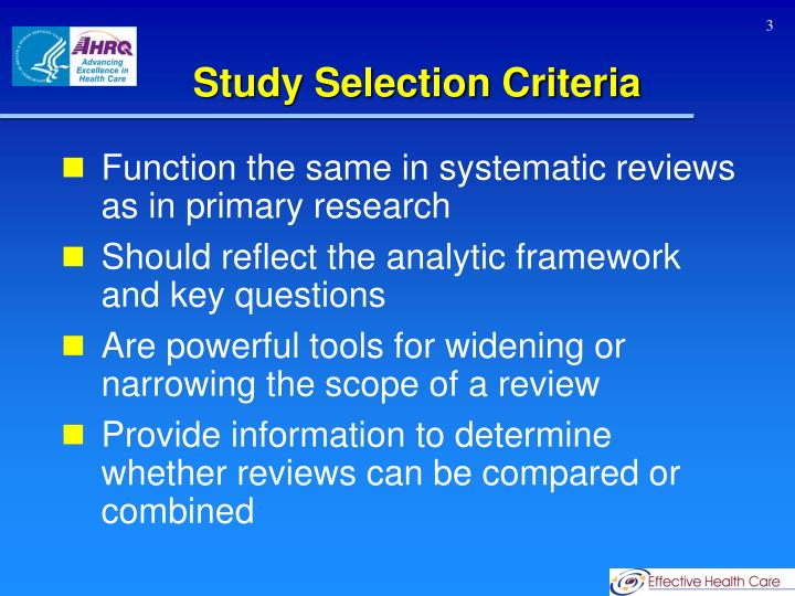 Study Selection Criteria