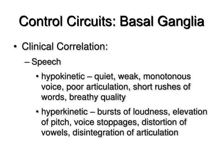 Control Circuits: Basal Ganglia