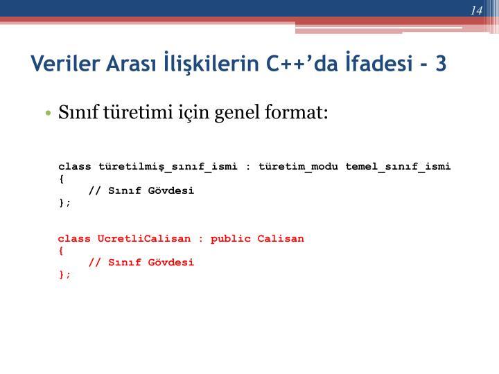 Veriler Arası İlişkilerin C++'da İfadesi - 3