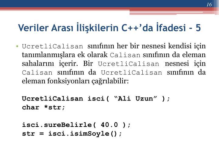 Veriler Arası İlişkilerin C++'da İfadesi - 5