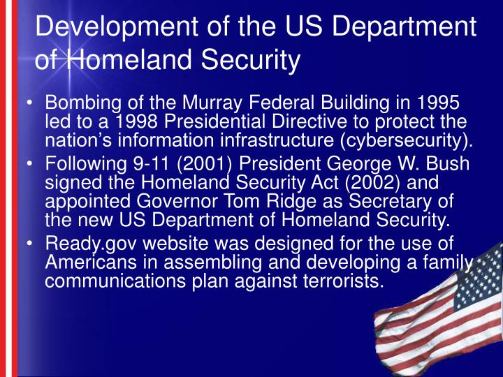 Development of the US Department of Homeland Security