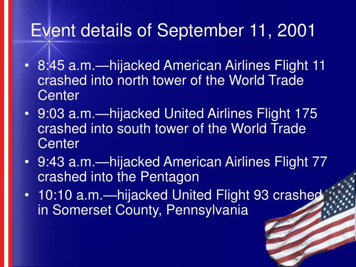Event details of september 11 2001