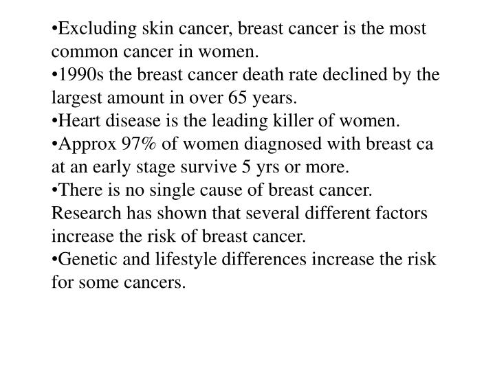Excluding skin cancer, breast cancer is the most common cancer in women.