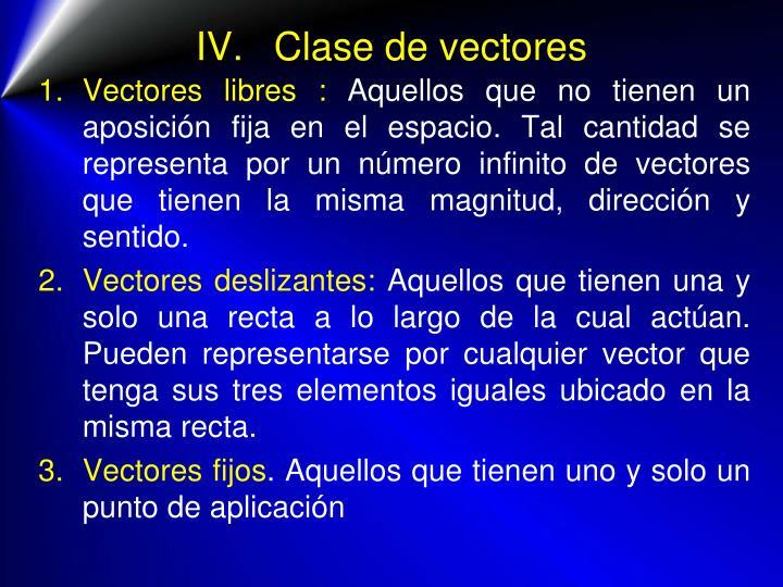 IV.Clase de vectores