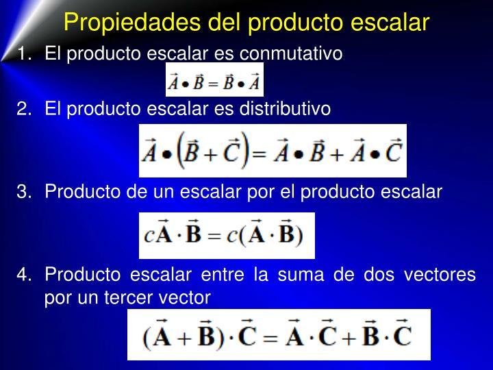Propiedades del producto escalar