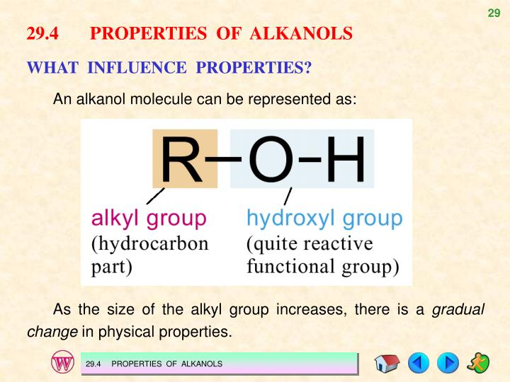 29.4PROPERTIES  OF  ALKANOLS