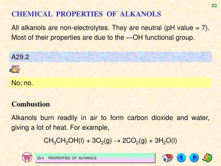 CHEMICAL  PROPERTIES  OF  ALKANOLS