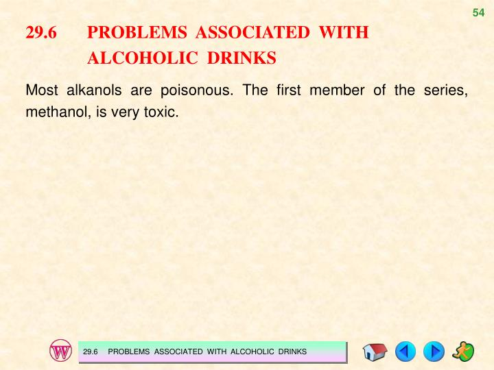29.6PROBLEMS  ASSOCIATED  WITH ALCOHOLIC  DRINKS