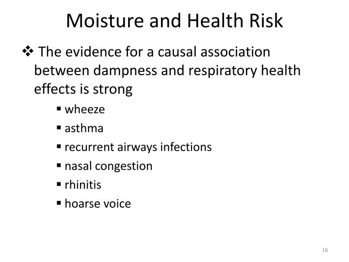 Moisture and Health Risk