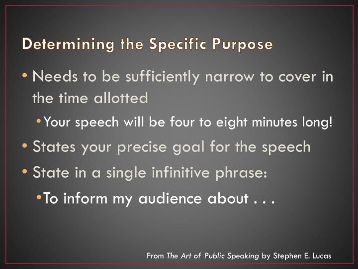 Determining the Specific Purpose