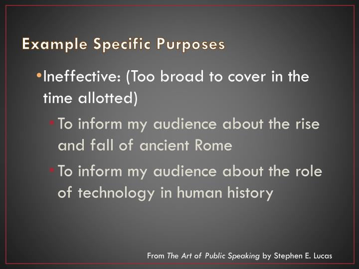 Example Specific Purposes
