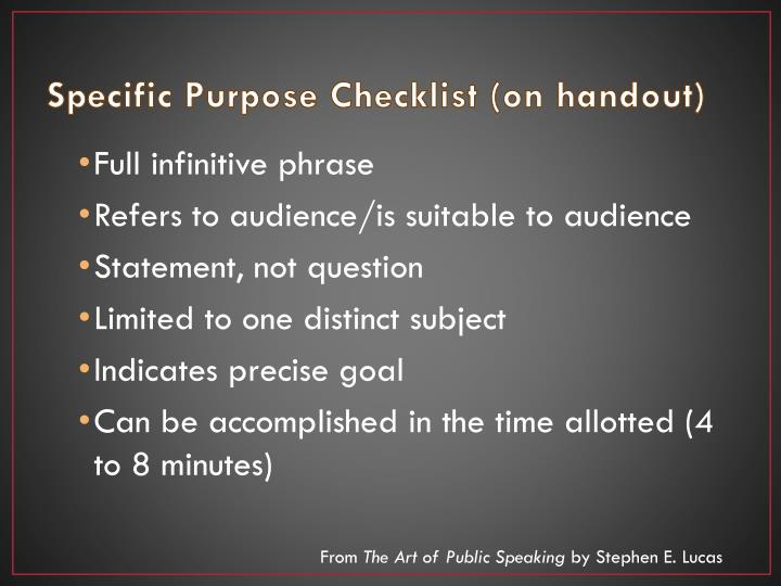 Specific Purpose Checklist (on handout)