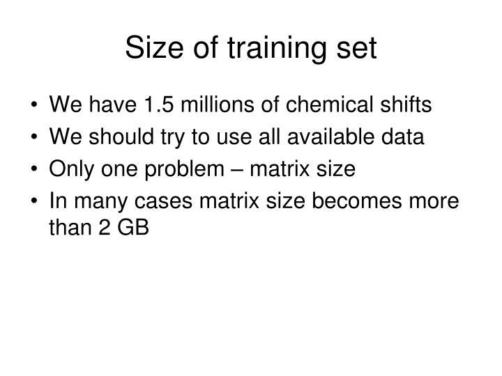 Size of training set